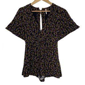 Free People Black Floral Open Back Shorts Romper 4